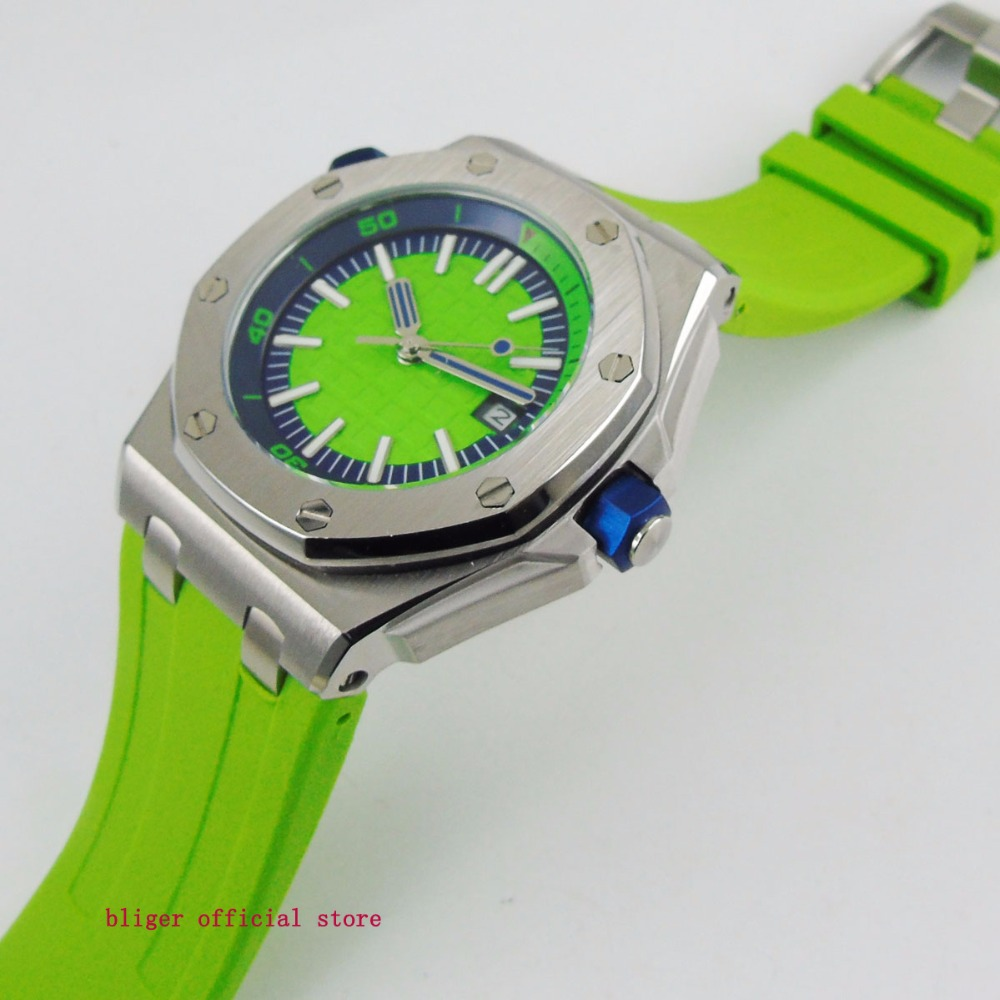 Fashional 43mm Big Face Green Men's Watch Date Window Automatic Movement Multifuntion Wristwatch Rubber Strap