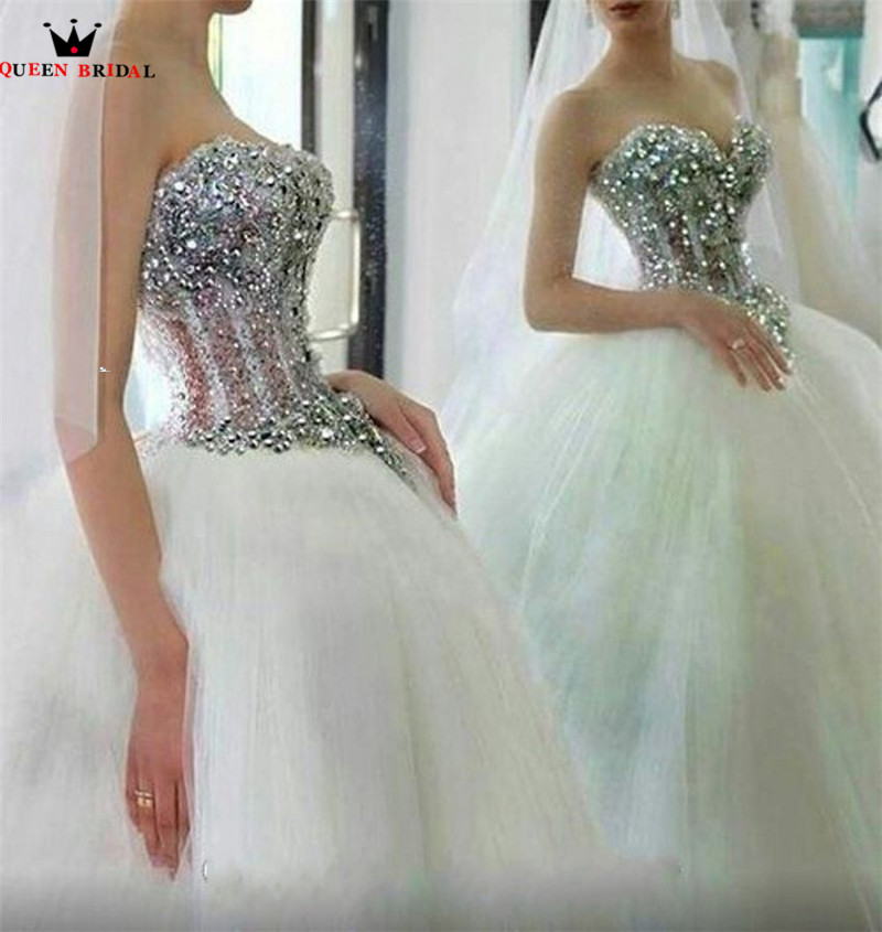 Luxury Wedding Dresses Ball Gown Sweetheart Crystal Beading Sequins Tulle Long Wedding Gown Bridal Dress Custom Made YB145