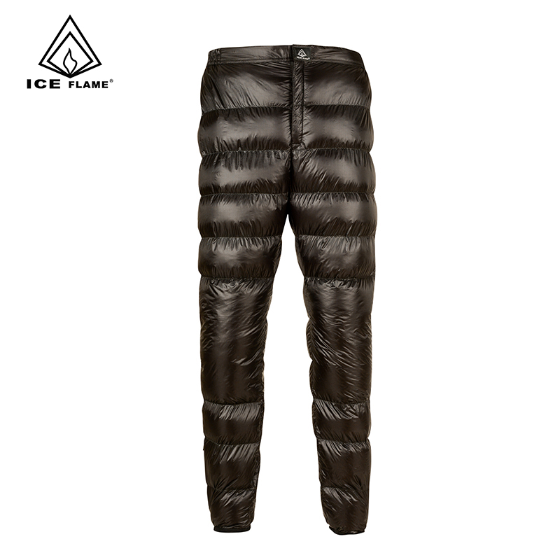 Ice Flame Lightweight Winter 800PF 90% White Goose Down Pants Trousers Bottoms For Hiking Camping Outdoor