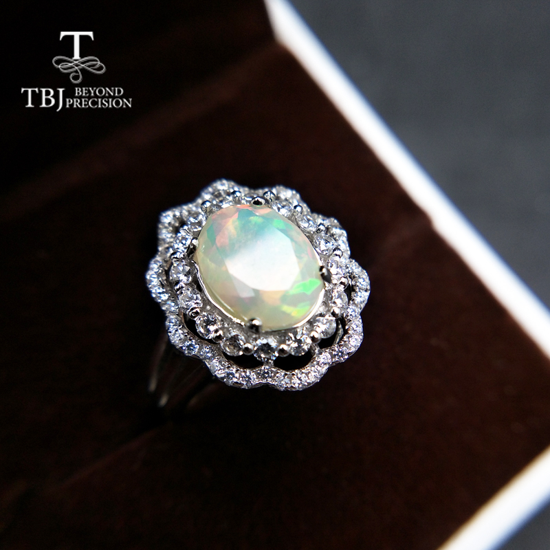 TBJ,Diversity quality ethiopian opal oval 8*10mm cut up natual colorful gemstone ring in 925 sterling silver for women with boxTBJ,Diversity quality ethiopian opal oval 8*10mm cut up natual colorful gemstone ring in 925 sterling silver for women with box