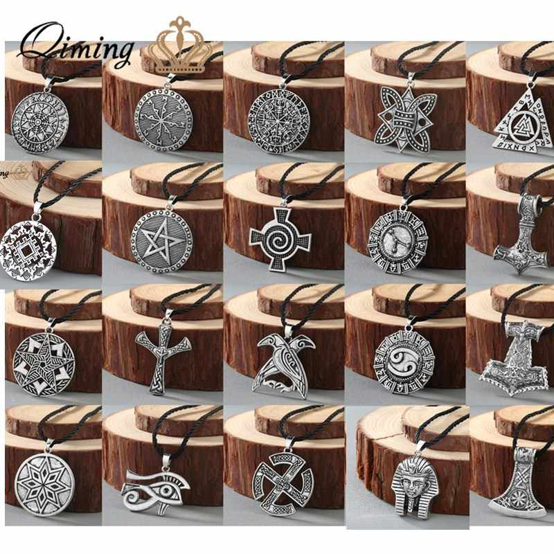 Viking Rune Slavic Necklace Men Raven Zodiac Hammer Compass Pendant Silver Vintage Amulet Jewelry Women Necklaces Male Collar