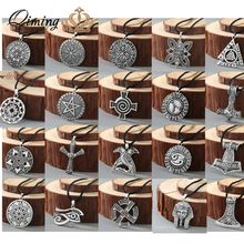 Viking Rune Slavic Necklace Men Raven Zodiac Hammer Compass Pendant Silver Vintage Amulet Jewelry Women Necklaces Male Collar(Hong Kong,China)