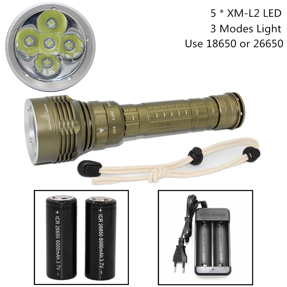 Waterproof Diving flashlight 5 x XM-L2 LED Scuba torch white light lamp + 18650 / 26650 battery + USB AC Charger 100m underwater diving flashlight led scuba flashlights light torch diver cree xm l2 use 18650 or 26650 rechargeable batteries