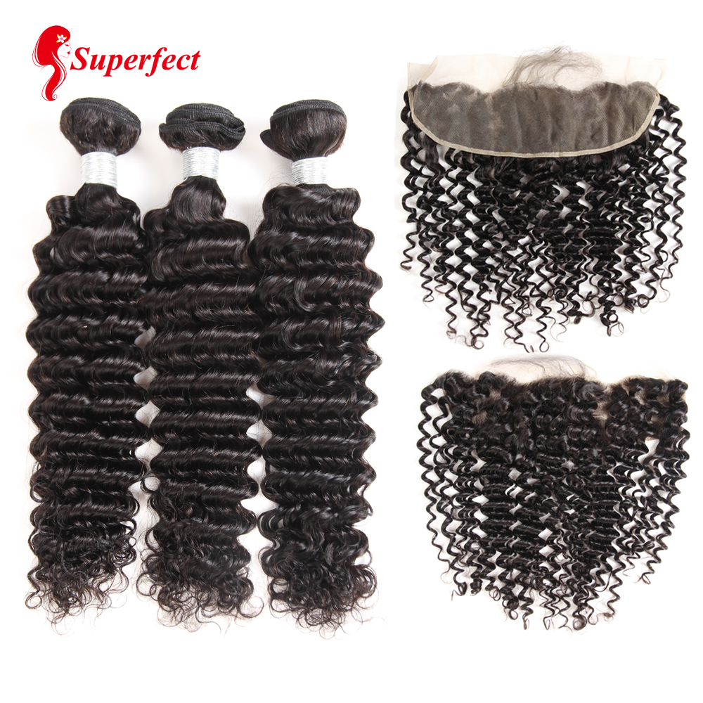 Brazilian Deep Wave Bundles With Frontal Ear To Ear Lace Frontal With Bundles Remy Human Hair