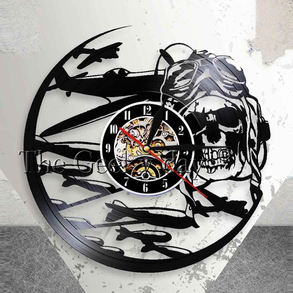 Retro Percontohan Aviator Skeleton Tengkorak Jam Dinding Vinyl Rekam Jam  Dinding Pesawat Terbang Jet Helm Hipster Kacamata Tengkorak Dinding Deco di  Wall ... bee64abdc9
