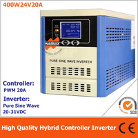 Гибридный инвертор контроллер для солнечные решетки система питания, 400 Вт 24 В Чистая синусоида Инвертор интегрирован с 20A ШИМ контроллер