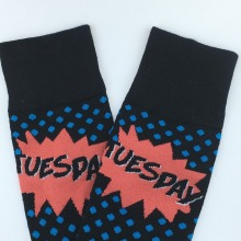 Men Polka Dots Happy Socks Monday Tuesday Wednesday Thursday Friday days of the Week Cotton Socks Week Colorful Long Socks