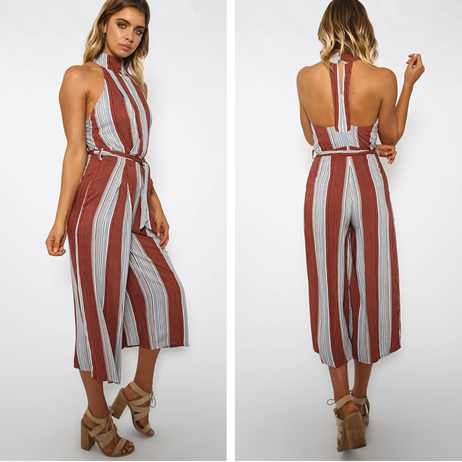 b93e5e82e2ef Nadafair Sleeveless Halter Striped Calf-Length Pants Backless Jumpsuit Women  Summer Casual Romper