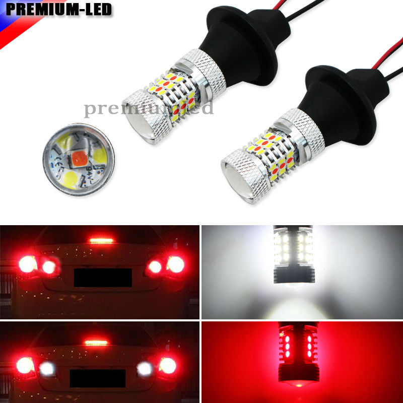 iJDM 31-SMD White/Red Dual-Color 1156 S25 7506 LED Replacement Bulbs For Car Backup Reverse Lights & Rear Fog Lamp Conversion 1pc 60 smd white red switchback 3156 t25 led bulb for chevy backup add on rear fog light
