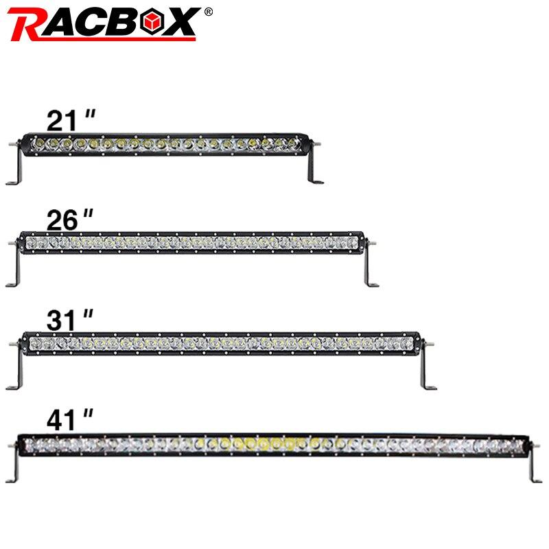 """RACBOX 3D Lens 21 """"26"""" 31 """"40"""" 41 Cal pojedynczy jeden rząd listwa świetlna LED robocza 100W 120W 150W 200W samochód SUV 4WD łódź Slim LED drążek LED"""