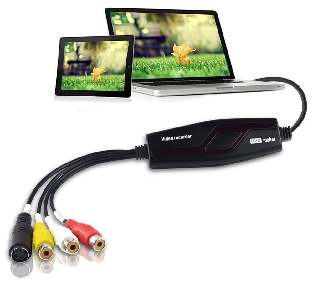 DIGITNOW! Video Capture Card Transfers Hi8 VHS to Digital DVD for Windows 10/Mac, Video Grabber with Scart/AV Adapter