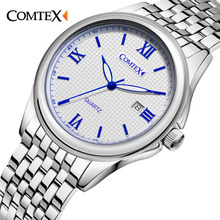 Comtex Business Men's Watch Alloy Wrist Watch Analog Display Quartz Movement Calendar 3ATM Water Resistant Alloy Strap