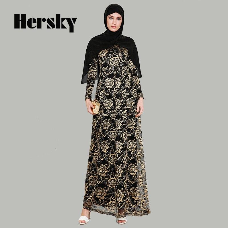 6f9a770cc8 High-grade Muslim Women Gold Lace Evening Dress Plus Size Dubai Abaya  Turkey Elegant Islamic Party Clothing Abayas Robe For Sale