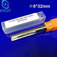 цены 2pcs 8*32MM Carbide Two/Double Flute Straight Slot Router Bit, CNC Carving Engraving Tools, Wood Milling Cutter