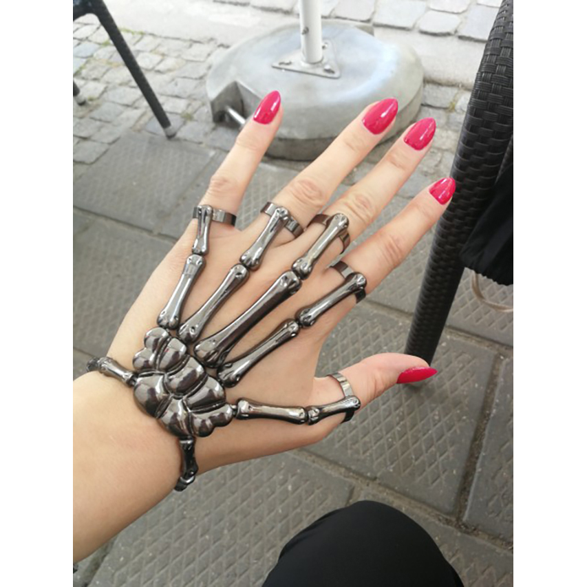 Hapiship Women Fashion 3 Style Halloween Hand Skull  Skeleton Elastic Bracelet Bangle + Rings RCH Cool Free Shipping