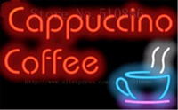 Cappuccino & Coffee neon sign Glass Tube Light Bar Beer Club Custom Neon signs Shop Store Decoration Signboard signage 17x14