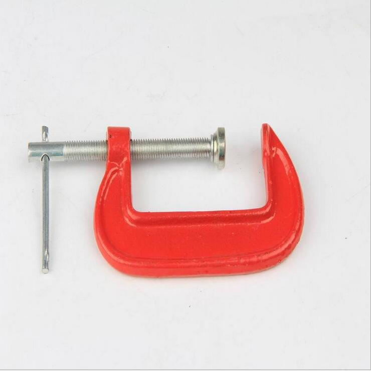 1Pcs Adjust Heavy Duty G Clamp 3inch C/W Soft Jaw Pads 12+6cm G Clamp Iron Red For Woodwork Metal Clamping