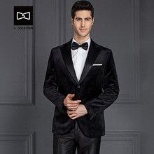bd113f0e7757 Tailleur homme velours noir costume Slim fit mariage costume hommes smoking  2 pièces (veste + pantalon) No. SZ160Y6