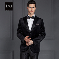 Tailor made Men Black Velvet Suit Slim fit Wedding Suit Men Tuxedo 2 Pieces(Jacket+Pants) No.SZ160Y6