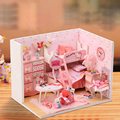Doll House Diy miniature Wooden Dollhouse miniaturas Furniture House Doll Toys For Children Birthday Gift Q003