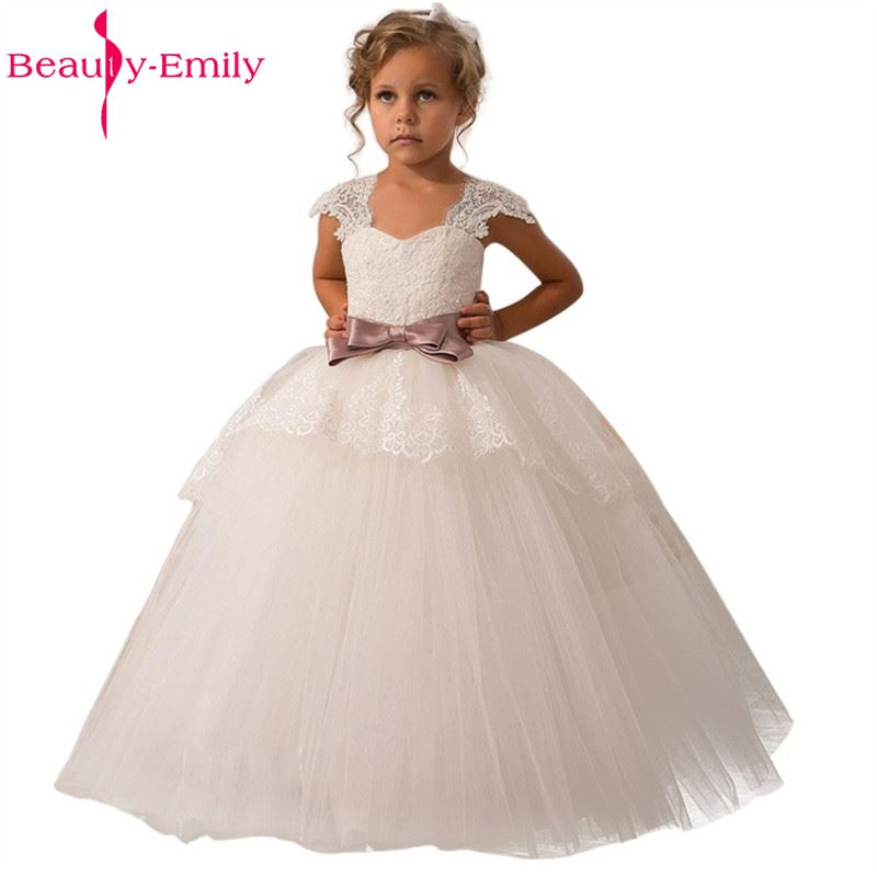 High Quality Embroidery Elegant Flower Girl Dresses With Belt Girls Party Long Dress for wedding party 2019 hot sale