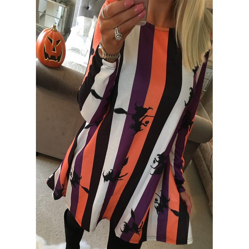 Zmvkgsoa Autumn <font><b>Women</b></font> <font><b>Sexy</b></font> Casual Long Sleeve <font><b>Dresses</b></font> O-Neck Witch Print <font><b>Halloween</b></font> Costume <font><b>Dress</b></font> Y10031 image