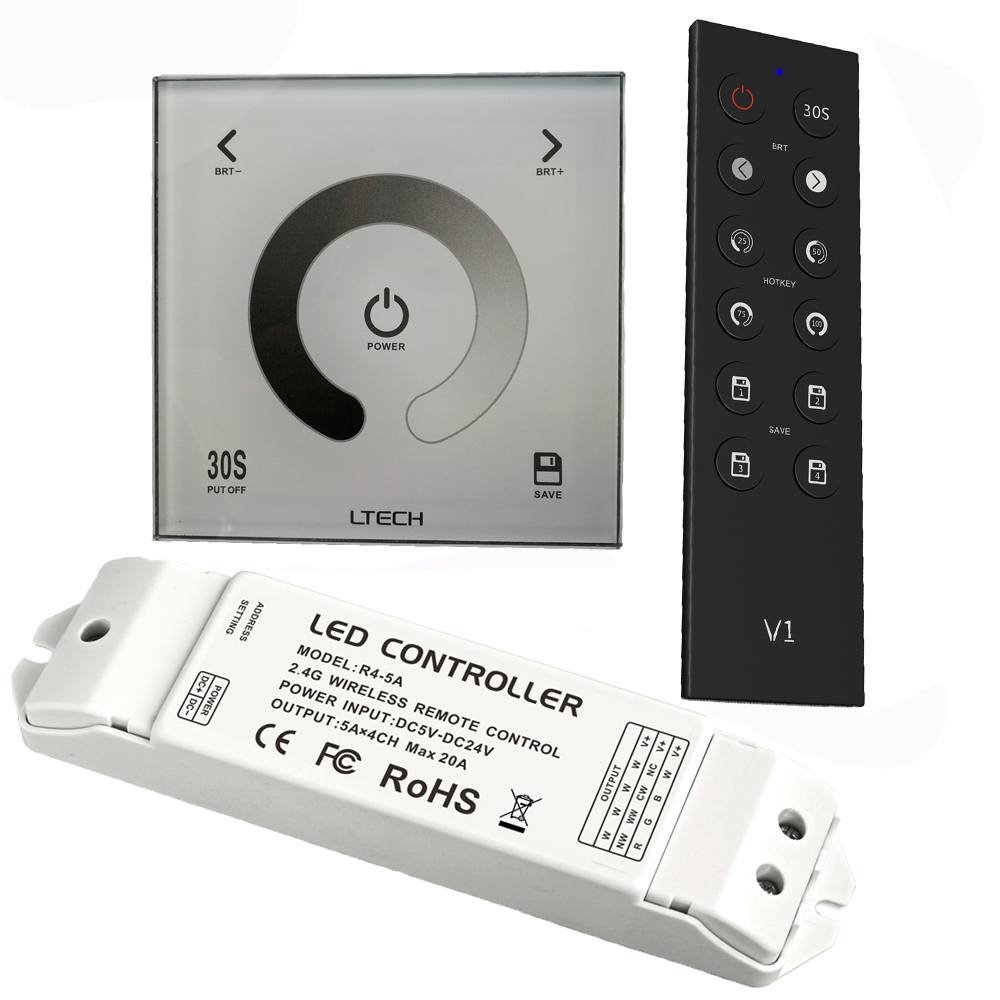 Ltech Led Dimmer AC110V-240V DX1 Glass Touch Panel Wall Mount 2.4G RF Wireless Dimmer and DMX Output R4-5A R4-CC Receiver ltech r4 cc zone constant current receiver dmx512 decoder led receiving controller dmx signal driver 2 4g wireless led dimmer