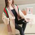 2017 de Invierno Elegante chaqueta de Punto Larga de Las Mujeres Poncho Borlas Mantón de la Manga Del Batwing de Lana de Rayas Loose Cardigan Mujer Suéter de Las Señoras