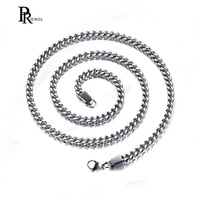 Mens Necklace Chain Miami Franco Box Link 316L Stainless Steel Iced Out Paved Gold Silver Tone