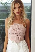 2017 Sexy Cross Criss Bow Suede Leather Crop Top Pink Grey Women Tops Sleeveless Strapless Backless