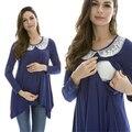 Ropa de Maternidad de Moda de maternidad superior De Enfermería lactancia Tops y camiseta para Las Mujeres Embarazadas del cordón Modal Cómodo patchwork