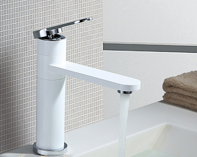 7 Faucet Finishes For Fabulous Bathrooms: 360 Degree Adjustment White Brass Bathroom Basin Faucet