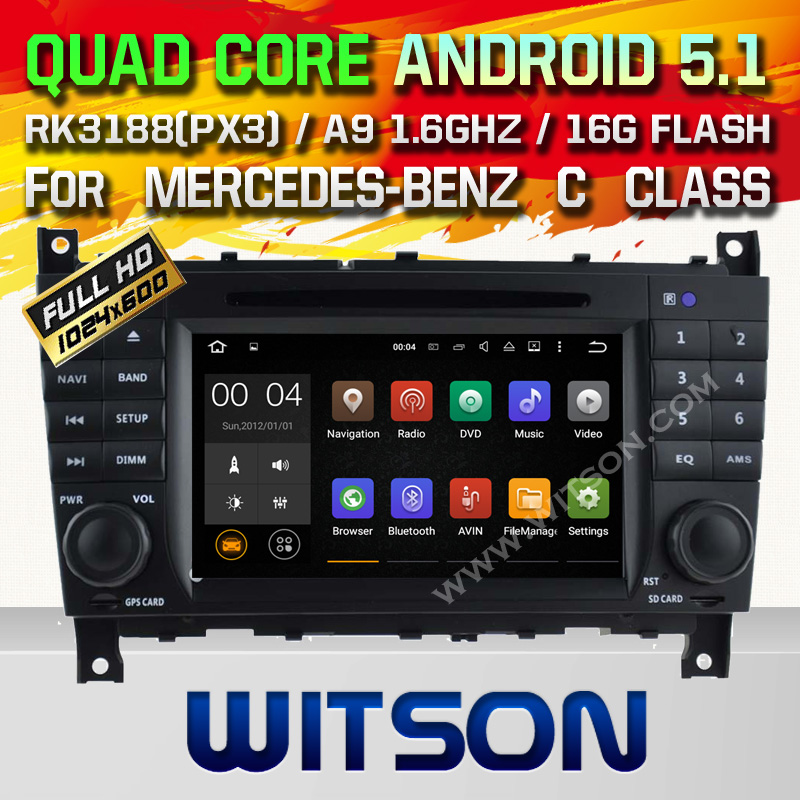 WITSON Android 5 1 Quad Core CAR DVD for MERCEDES BENZ C Class W203 CLC W203