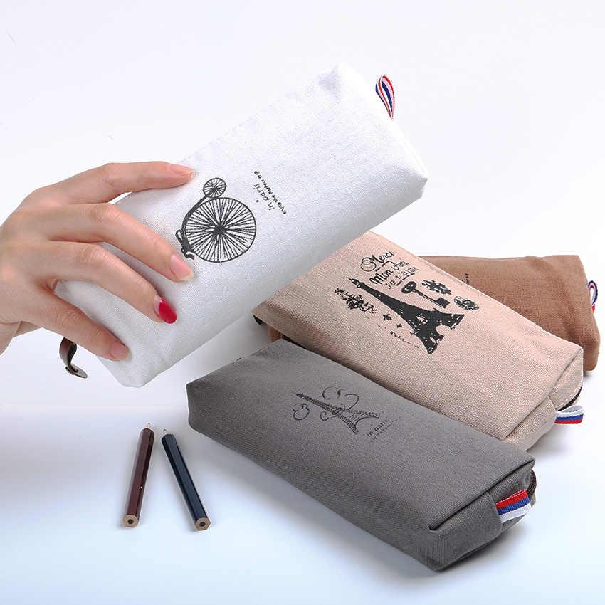 1 Pc Retro Torens Linnen Pencil Bag Studenten Parijs Stijl Potlood Gevallen Briefpapier Materiaal Escolar Kantoor Levert Nieuwe Aankomst