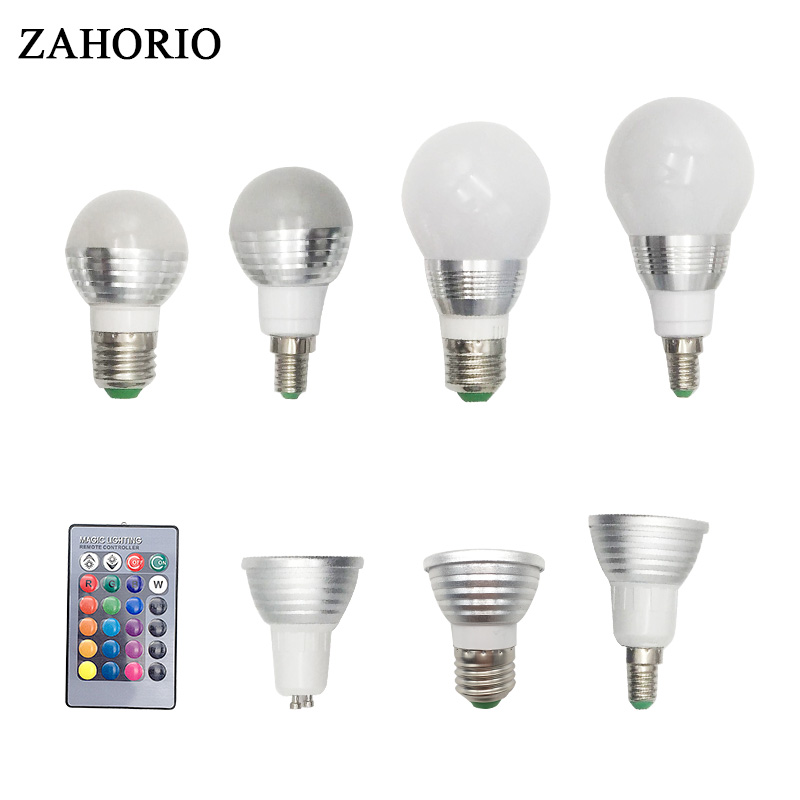 E27 RGB AC85-265V LED Bulb led Lamp E14 GU10 3W 5W 10W LED Spot Blubs Stage Night Lights Holiday lighting+IR Remote Controller