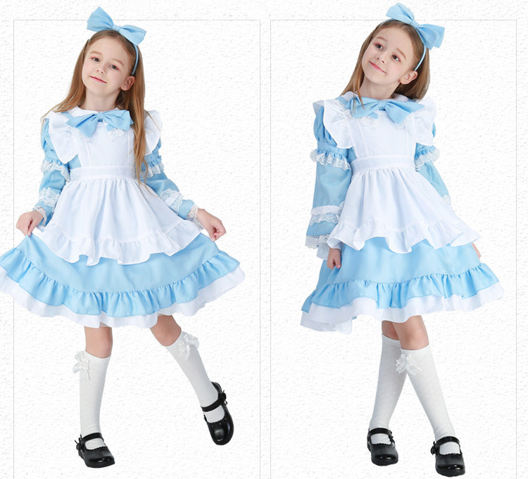 Vocole Girl Alice in Wonderland Costume Kid Cute Maid Lolita Fancy Dress