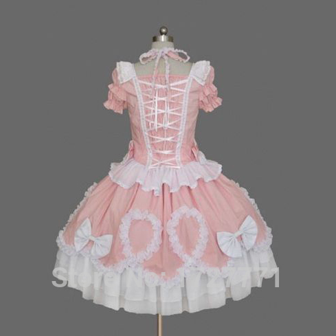 A56 pink summer short sleeves sweet lolita dress chiffon lace medieval gothic dress princess cosplay halloween costumes for girl