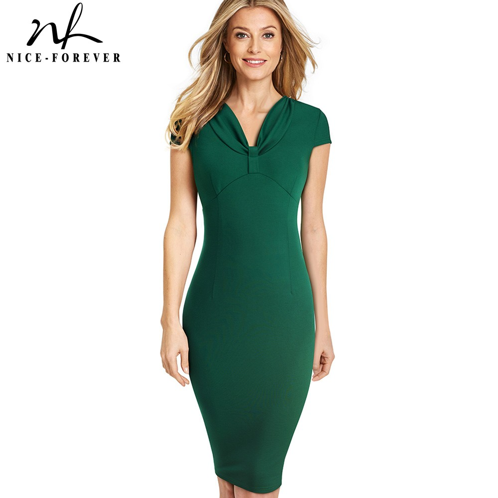 Nice-forever Elegant Vintage Pure Color Cap Sleeve Vestidos Business Party Work Office Bodycon Women Female Dress B503