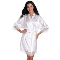 Brand Designer White Women Silk Rayon Robe Sexy Lace Wedding Bride Robe Lingerie Sleepwear Kimono Yukata