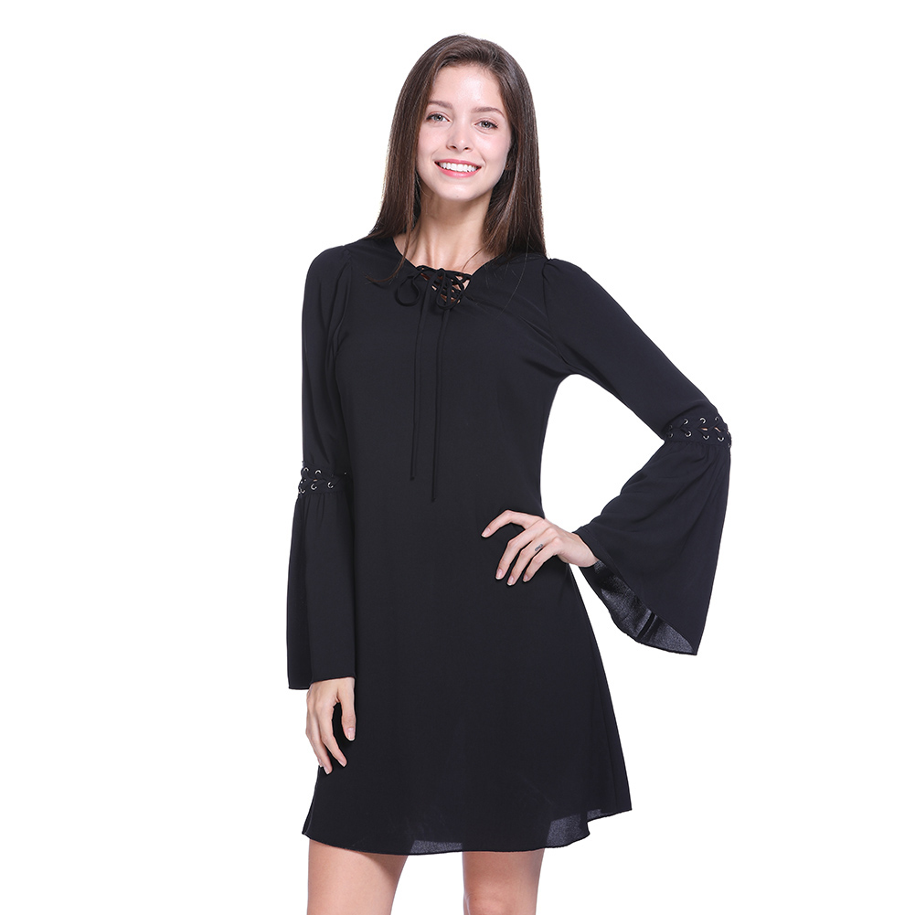 T Shirt Dress Summer Fashion Long Sleeve Women Everyday Dresses Knee