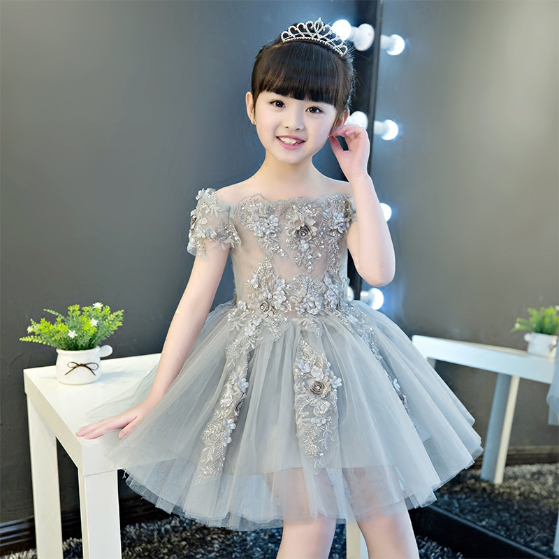 Off the Shoulder Flower Girl Dresses Appliques Knee Length Pageant Formal Dress Party Birthday Ball Gown Princess Dress B33Off the Shoulder Flower Girl Dresses Appliques Knee Length Pageant Formal Dress Party Birthday Ball Gown Princess Dress B33