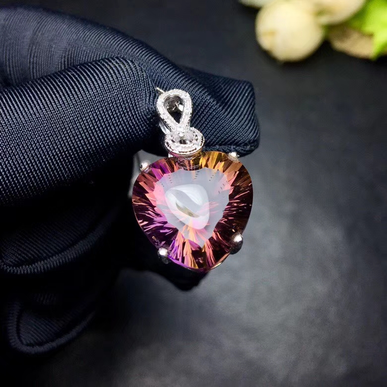 natural Ametrine pendant S925 silver Natural Purple yellow crystal Necklace trendy romantic heart women girl fine gift jewelry
