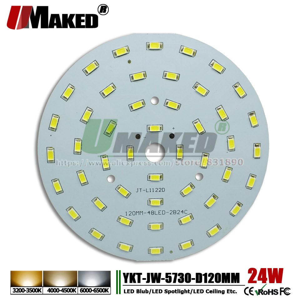 UMAKED 24W 120mm SMD 5730 Downlight PCB Bulb Lamp Spotlight LED Source Install led Chips Aluminum Lamp plate Warm/Natural/White 20pcs 12w led light panel smd 5730 ic driver pcb input voltage ac110v 130v needn t driver aluminum plate free shippping