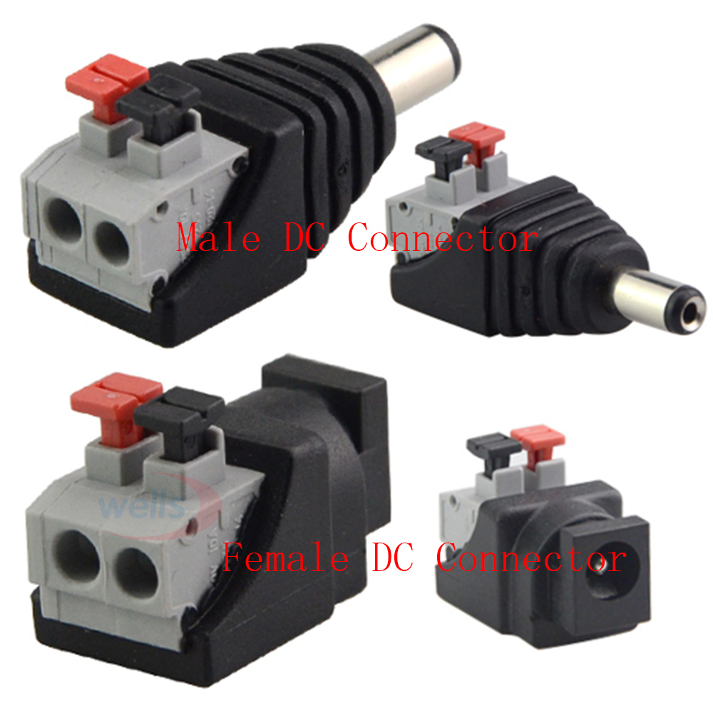 Male Female DC Power 2.1 x 5.5mm Plug Jack Adapter Connector Plug for 5050 3528 Single Color LED Strip Light and CCTV Camera 5pcs lot 12v dc power plug male connector 5 5x2 1mm with cord cable for 5050 3528 2835 led strip cctv free shipping