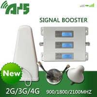 AYS 4g dcs 3g wcdma 2g gsm repeater Handy Booster Verstärker Antenne Kit Handy Signal 900 1800 2100 legierung LCD Display