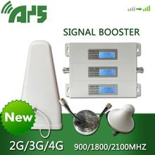 AYS 4g dcs 3g wcdma 2g gsm מהדר מאיץ טלפון נייד מגבר אווירי ערכת טלפון נייד אות 900 1800 2100 סגסוגת LCD תצוגה
