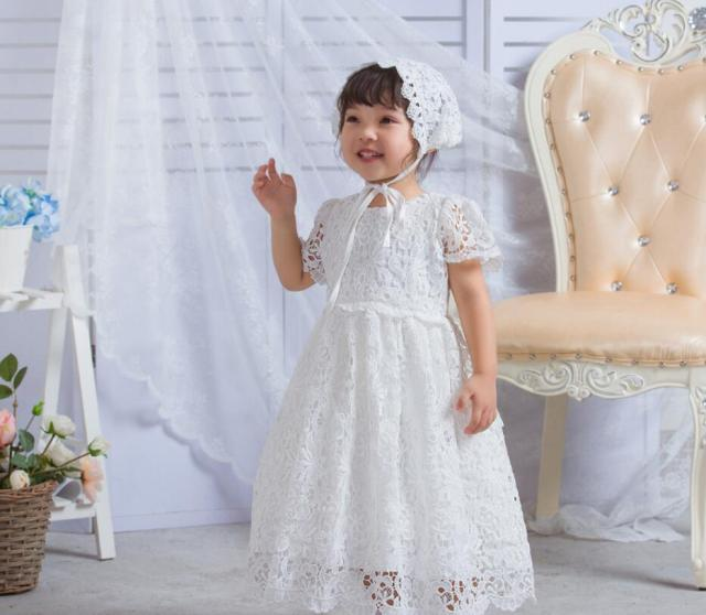 ae011780119 2PCs per Set Baby Girl Baptism Dress Ivory Infant Girl Christening Long Lace  Full Gown Flower Hat 0-24Months