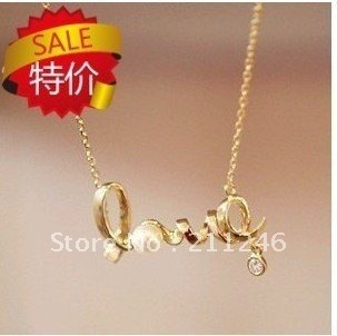Free shipping Newest fashion Vintage Necklace Jewelry Hot sale Wholesale Chic LOVE alphabet Necklace Fashion women/girl factory
