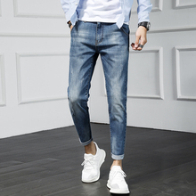 Mens Jeans 2019 Spring And Summer New Trend Casual Wild Elastic Stretch Small Feet Nine Youth Clothing