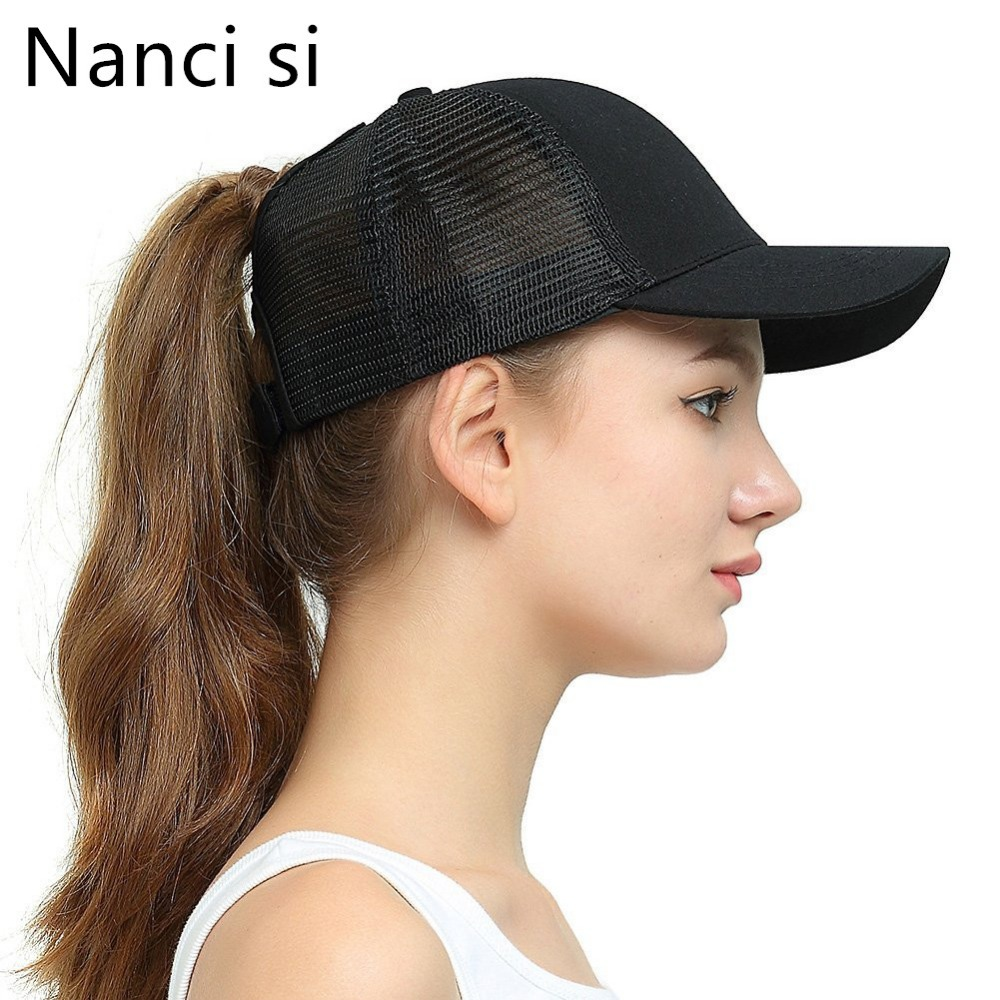 Nanci Si 2019 New Arrivals Solid Color Ponytail Hair Baseball Cap Women Messy Bun Baseball Summer Hat Snapback For Women Girl